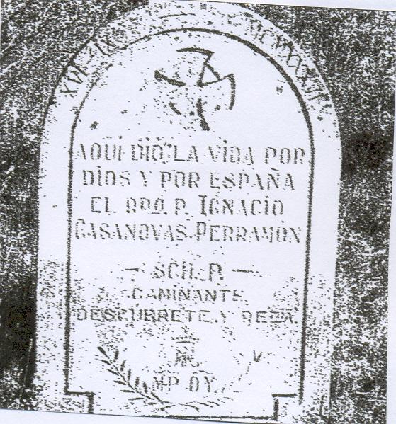 Lápida en el lugar de su martirio